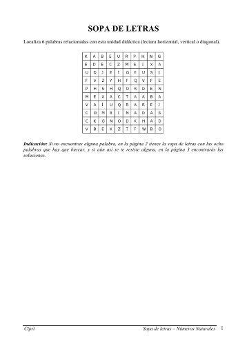 Sopa de letras – Números Naturales