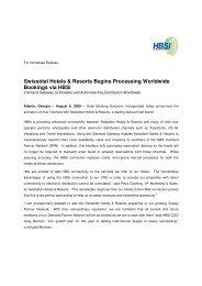 Swissôtel Hotels & Resorts Begins Processing Worldwide ... - HBSi