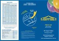 price list - Werribee Party Hire