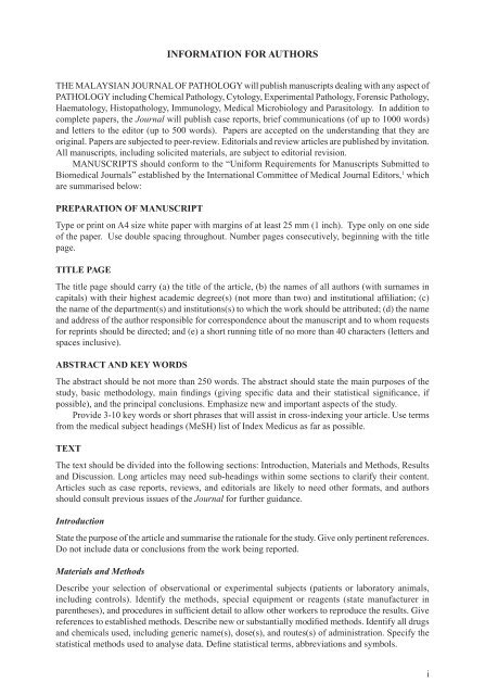 Information For Authors The Malaysian Journal Of Pathology
