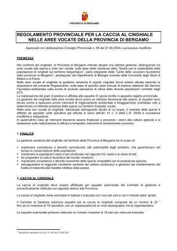 Regolamento caccia al cinghiale - Provincia di Bergamo