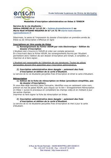 inscription administrative_2011.pdf - Ecole nationale supérieure de ...