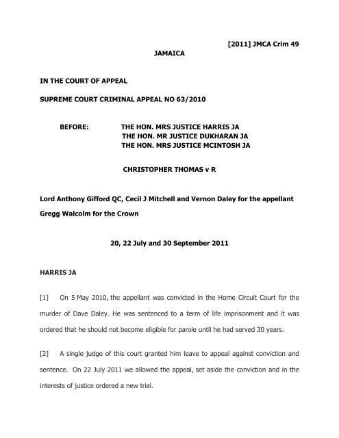 Thomas Christopher V R Pdf The Court Of Appeal