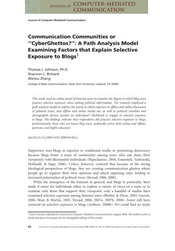 Communication Communities or ''CyberGhettos?'': A Path Analysis ...