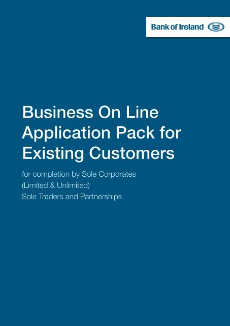 Business On Line Application Pack for Existing ... - Business Banking