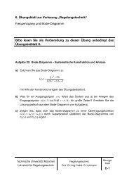 """6. Übungsblatt zur Vorlesung """"Regelungstechnik"""" - Lehrstuhl für ..."""