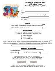 Ticket Order and Sponsorship Form - Strathmore