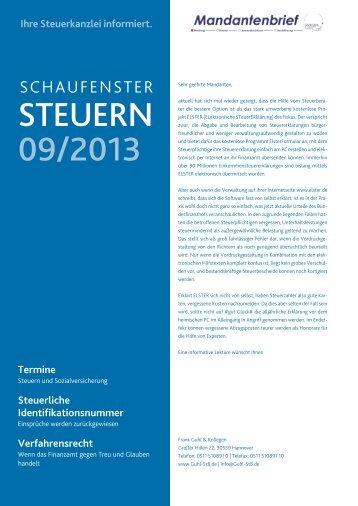 Mandantenbrief aktueller Monat - Steuerberater in Hannover