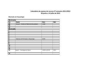 Calendário de exames de recurso 2º semestre 2011/2012 28 ... - ICS