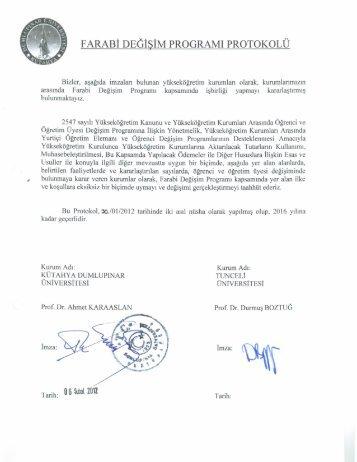 FARABİ DEĞİŞİM PROGRAMI PROTOKOLÜ - Tunceli Üniversitesi