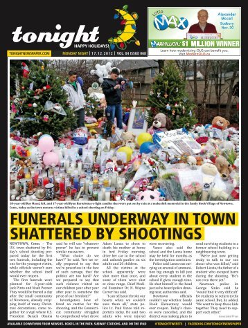 funerals underway in town shattered by shootings - tonight Newspaper