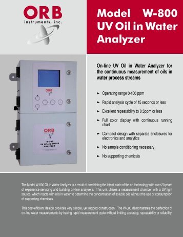 Model W-800 UV Oil in Water Analyzer - OrbInstruments.com