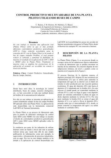 control predictivo multivariable de una planta piloto utilizando ... - CEA