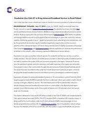 Kuuskaista Uses Calix E7 to Bring Advanced Broadband Services to ...