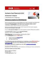 Kulinaris Card Österreich 2012