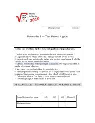 Matematika 1 → Test: Osnove Algebre - ProCredit