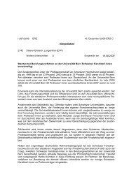 Berufungsverfahren an der Universität Bern - EVP Oberaargau