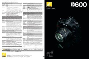 Nikon Digital SLR Camera D600 Specifications - Imaging Products ...