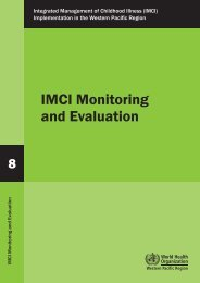 IMCI Monitoring and Evaluation - WHO Western Pacific Region ...