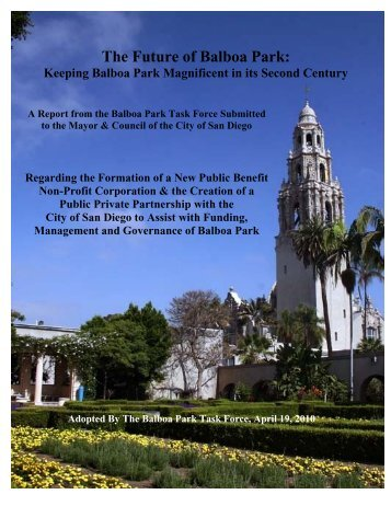 The Future of Balboa Park: - Committee of One Hundred