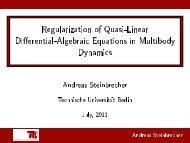 Regularization of Quasi-Linear Di erential-Algebraic Equations in ...