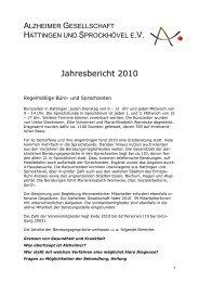 Jahresbericht 2010 - bei der Alzheimer Gesellschaft Hattingen und ...