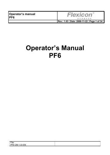 Operator's Manual PF6 - Flexicon