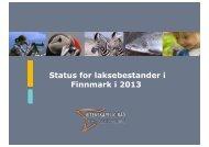 Status for laksebestander i Finnmark i 2013 - Norske Lakseelver