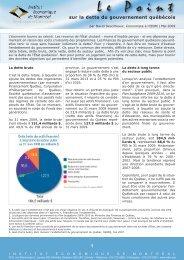 Le Point sur la dette du gouvernement québécois - IEDM