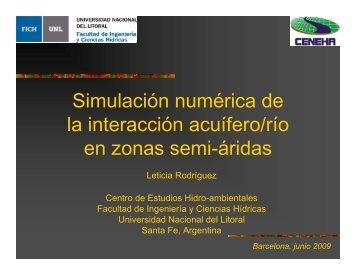 Simulación numérica de la interacción acuífero/río en zonas semi ...