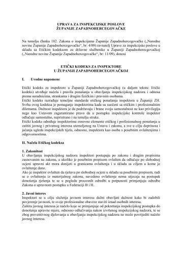 Etički kodeks za inspektore u Županiji ... - uip-zzh.com