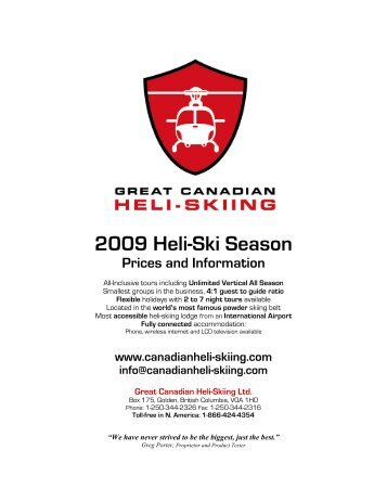 cmh heli skiing revelstoke with Brochure Great Canadian Heli Skiing on Voyages Exploring The Selkirk Mountains additionally Powdercanada additionally Bighorn furthermore Not Heli Skier No Problem furthermore Art And Photo Workshops.