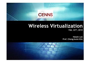 Wi l Vi t li ti Wireless Virtualization