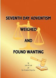 Seventh Day Adventism - Christian Issues