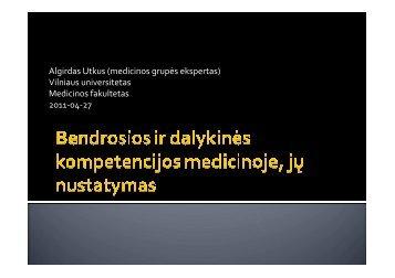 Bendrosios ir dalykinės kompetencijos medicinoje, jų nustatymas