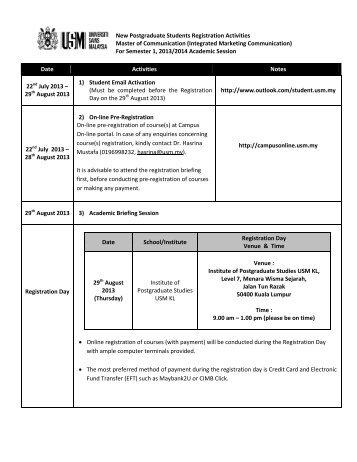 New Postgraduate Students Registration Activities Master of ...