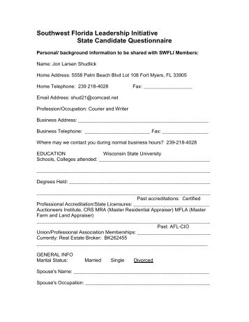 Southwest Florida Leadership Initiative State Candidate Questionnaire