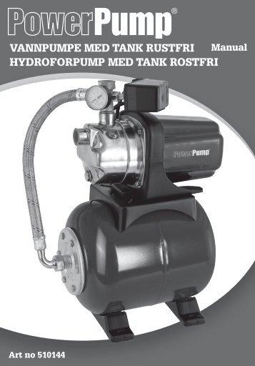 VANNPUMPE MEd tANk rUstfri hydroforPUMP MEd tANk rostfri