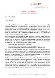 alliance F – Brief aus Bern Mitteilungen an unsere Mitglieder Bern ...