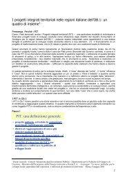 I progetti integrati territoriali nelle regioni italiane dell'Ob.1 - Dps