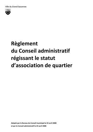 Règlement du Conseil administratif régissant le ... - Grand-Saconnex