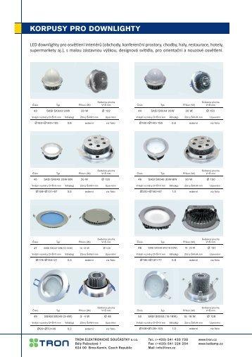 LED korpusy pro downlighty - TRON elektronické součástky sro