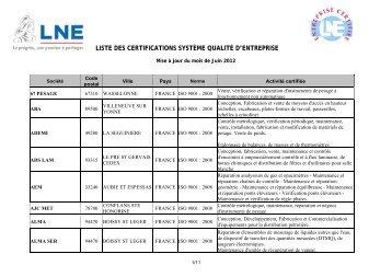 Entreprises certifiées LNE ISO 9001 - certification système qualité d ...