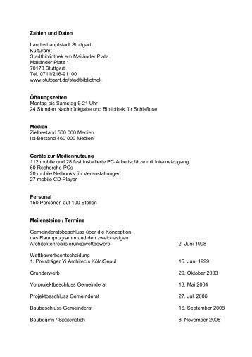 Zahlen und Daten - Stadtbibliothek Stuttgart