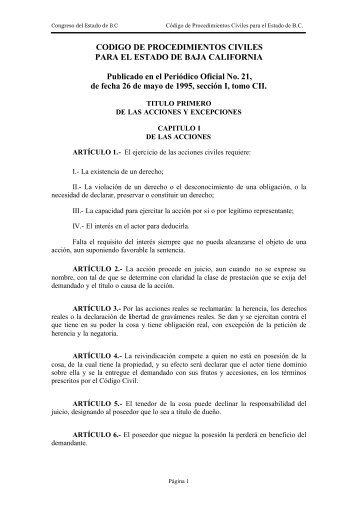CODIGO DE PROCEDIMIENTOS CIVILES PARA EL ... - Tijuana