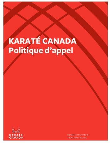 KARATÉ CANADA Politique d'appel - Karate Canada