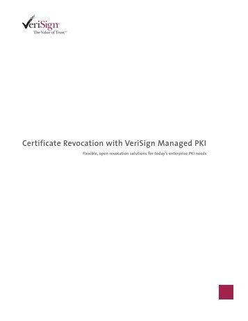Certificate Revocation with VeriSign Managed PKI - White Paper