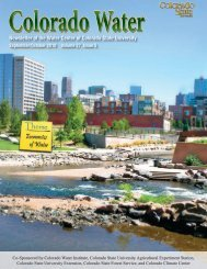 Newsletter of the Water Center of Colorado State University