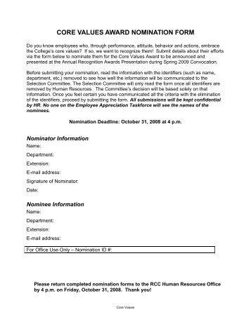 core-values-award-nomination-form-richland-community-college Va Form Application on va form 22 5495, va gi bill forms, va form 22 8864, va form 21 8416 claim,