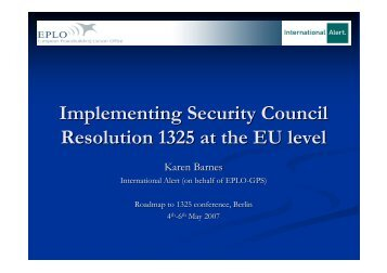 Implementing Security Council Resolution 1325 at the EU level - Glow